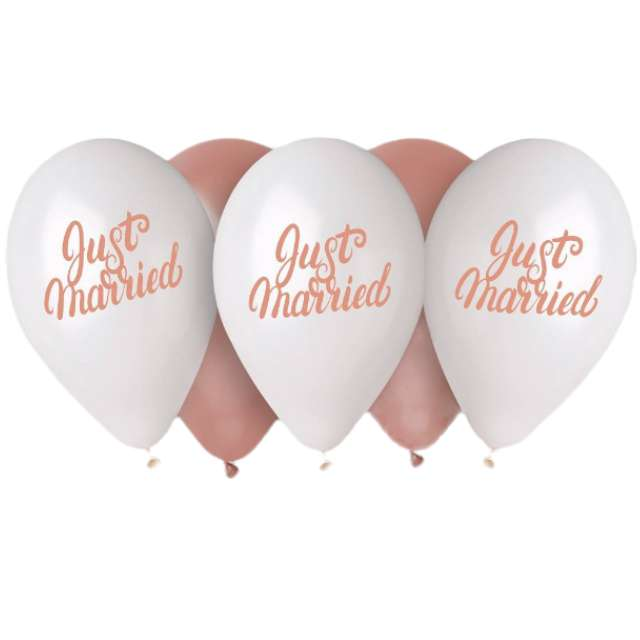 "Balony ""Just Married"", 13"", Gemar, 5 szt."