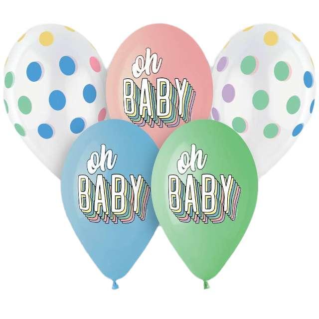"Balony ""Oh baby"", 13"", Gemar, 5 szt."