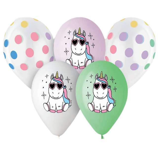 """Balony """"Wesoły jednorożec"""", 13"""", Gemar, 5 szt."""