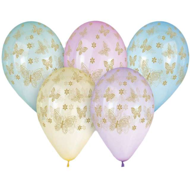 """Balony """"Złote motylki"""", 13"""", Gemar, 5 szt."""