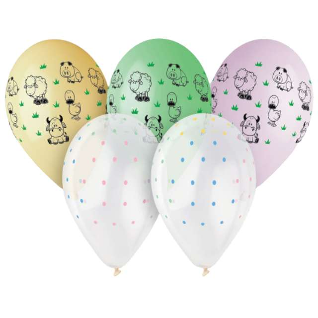 """Balony """"Zwierzątka z farmy"""", 13"""", Gemar, 5 szt."""