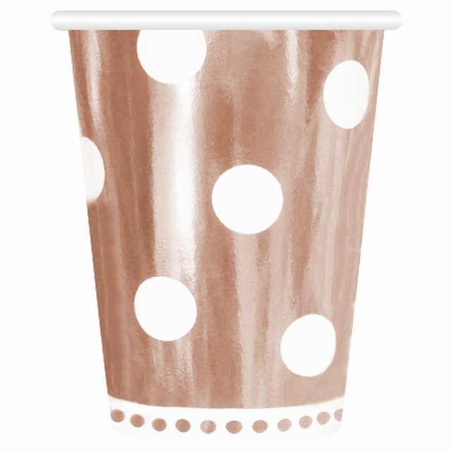 """Kubeczki papierowe """"Grochy - Metalik"""", różowe złoto, Godan, 266 ml, 6 szt"""