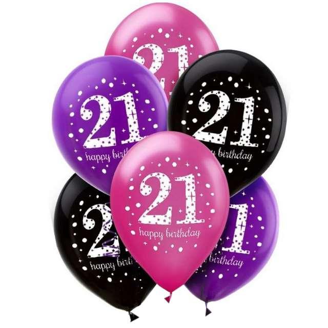 """Balony """"21 Urodziny"""", mix, Amscan, 11"""", 6 szt"""