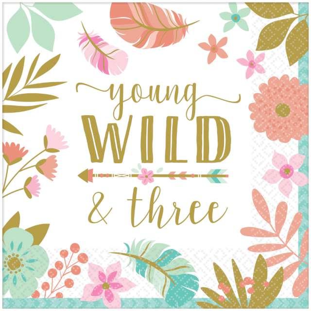 """Serwetki """"Boho - Young Wild and Three - Urodziny 3"""", Amscan, 33 cm, 16 szt"""