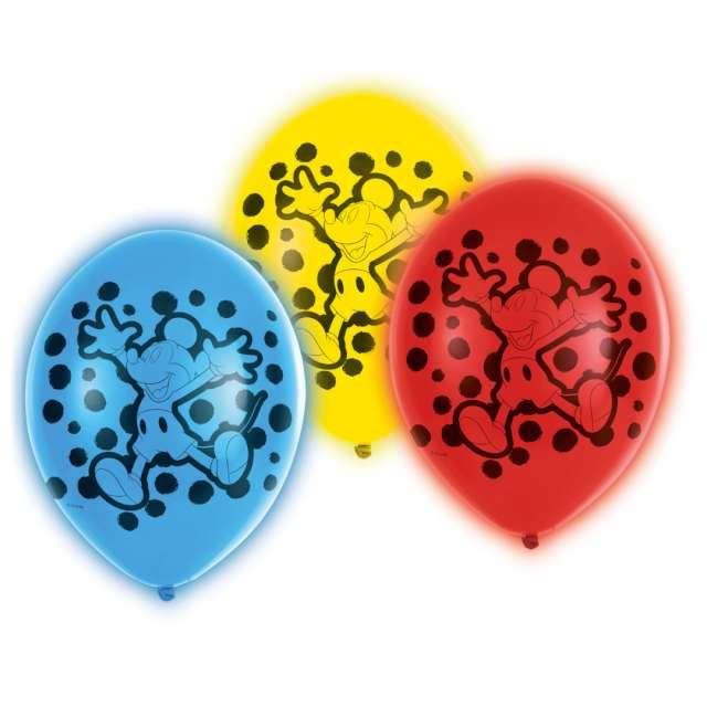 """Balony """"Myszka Mickey LED"""", mix, Amscan, 11"""", 5 szt"""
