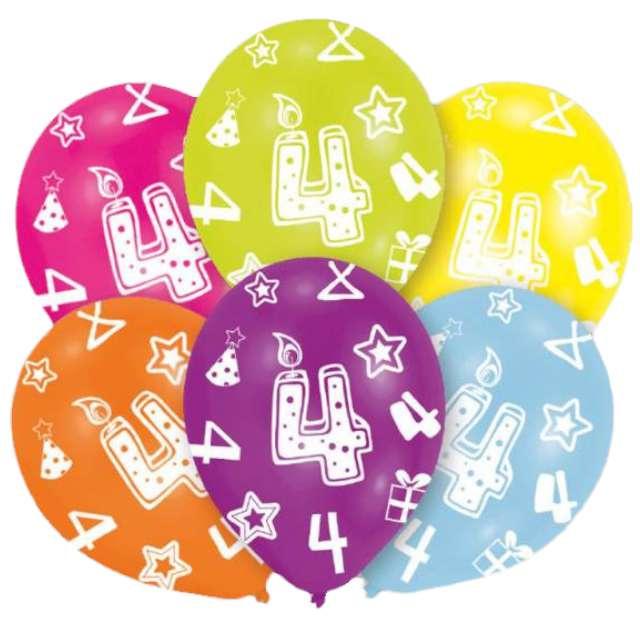 """Balony """"4 Urodziny"""", mix, Amscan, 11"""", 6 szt"""