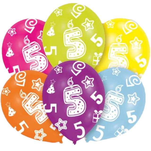"""Balony """"5 Urodziny"""", mix, Amscan, 11"""", 6 szt"""