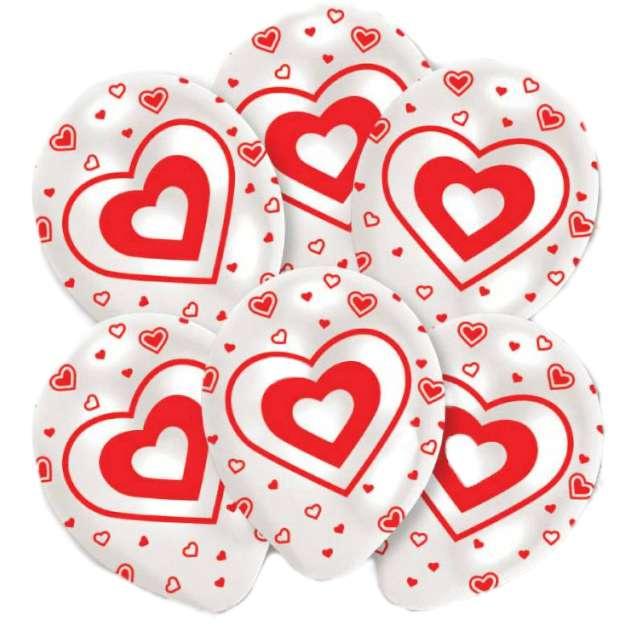 """Balony """"Czerwone serduszka"""", białe, Amscan, 11"""", 6 szt"""