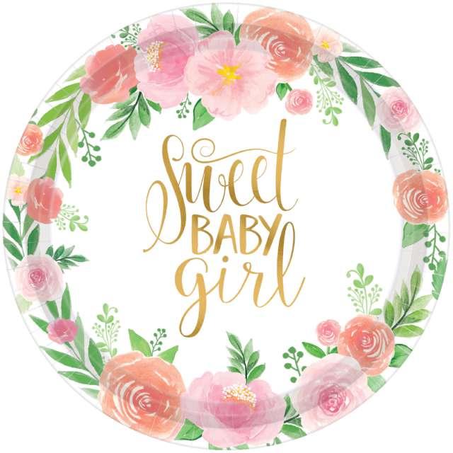 """Talerzyki papierowe """"Floral Baby - Sweet Baby Girl"""", Amscan, 17,7 cm, 8 szt"""