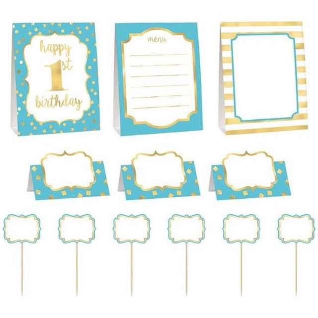 """Dekoracja """"1 Urodziny - Roczek chłopca"""", niebieski, Amscan, zestaw"""