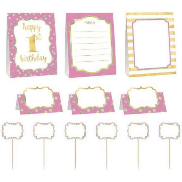 """Dekoracja """"1 Urodziny - Roczek dziewczynki"""", różowy, Amscan, zestaw"""