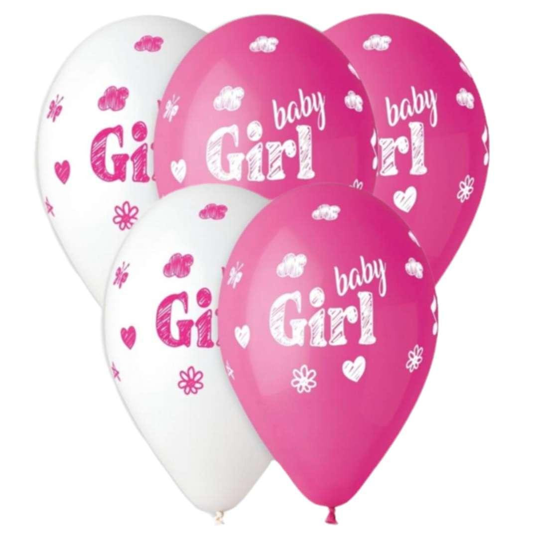 "Balony ""Baby Shower - baby girl"", różowe, 13"", Gemar, 5 szt."