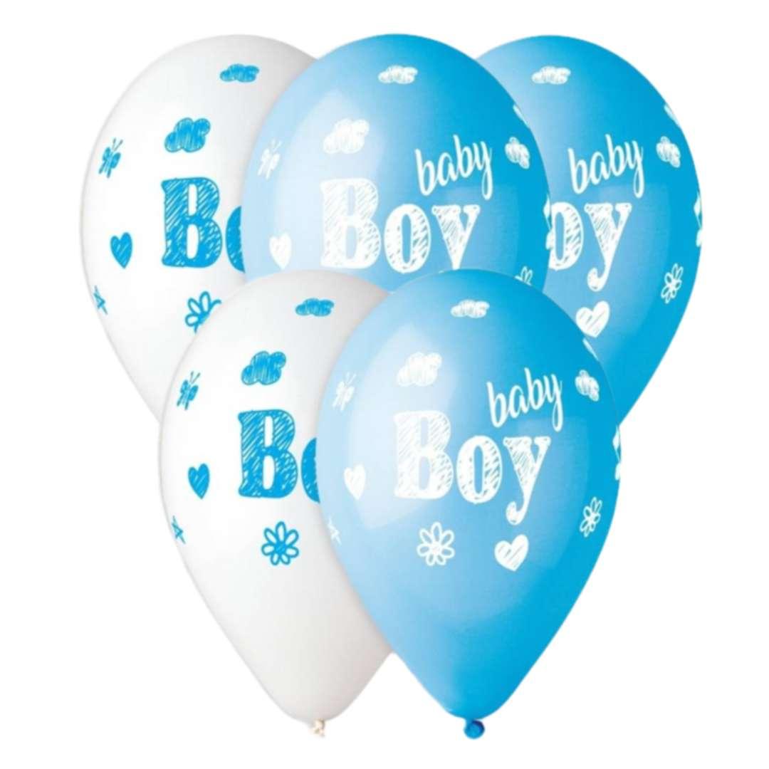 """Balony """"Baby Shower - baby boy"""", niebieskie, 13"""", Gemar, 5 szt."""