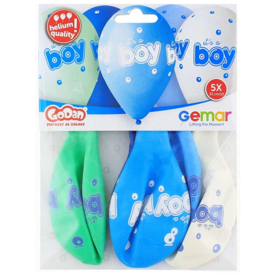 Balony Baby shower - its a boy niebieskie 13 Gemar 5 szt.