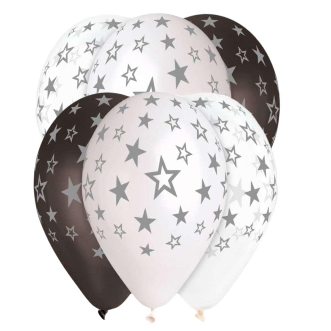 """Balony """"Gwiazdy srebrne"""", 13"""", Gemar, 6 szt."""