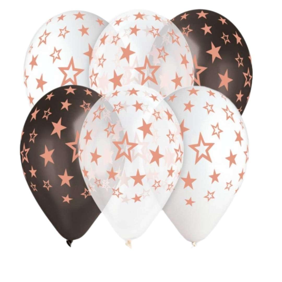 """Balony """"Gwiazdy różowe złoto"""", 13"""", Gemar, 6 szt."""