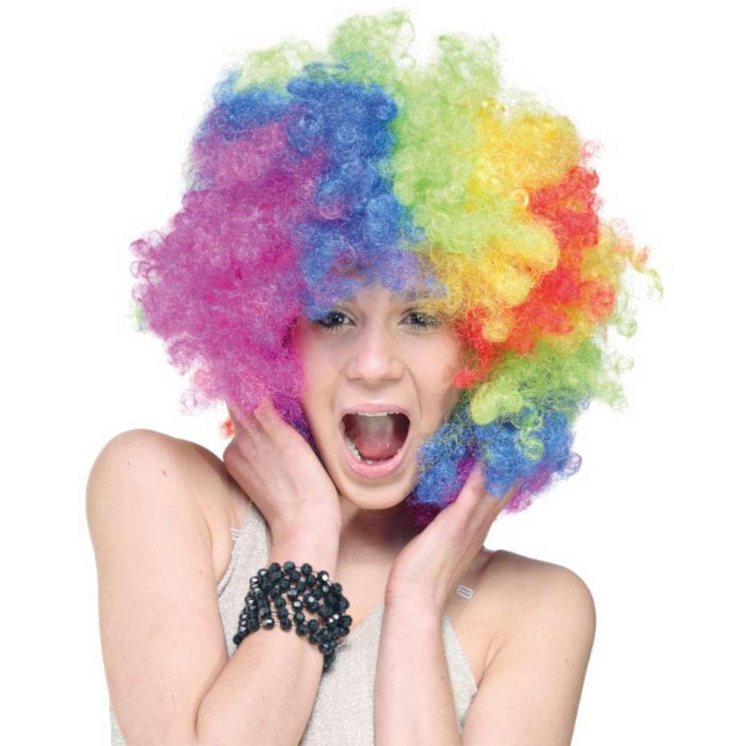 "Peruka party ""Tęczowe Afro"", kolorowa, Godan"