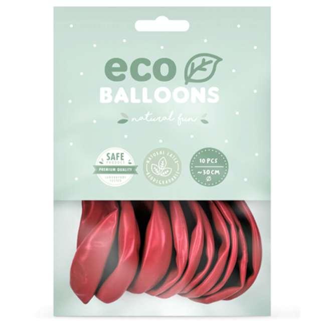 Balony Ekologiczne czerwony jasny metalik Partydeco 12 10 szt
