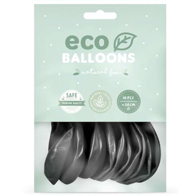 Balony Ekologiczne czarny metalik Partydeco 12 10 szt