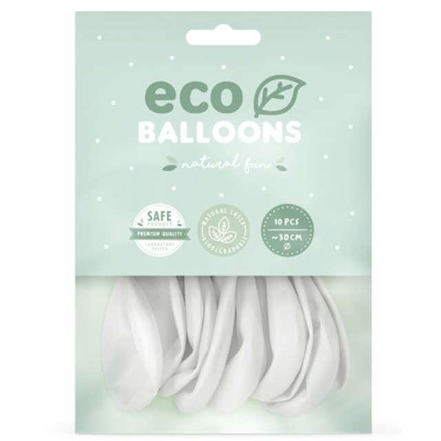 Balony Ekologiczne białe Partydeco 12 10 szt