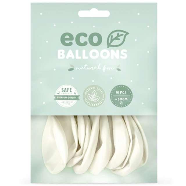 Balony Ekologiczne biały metalik Partydeco 10 10 szt