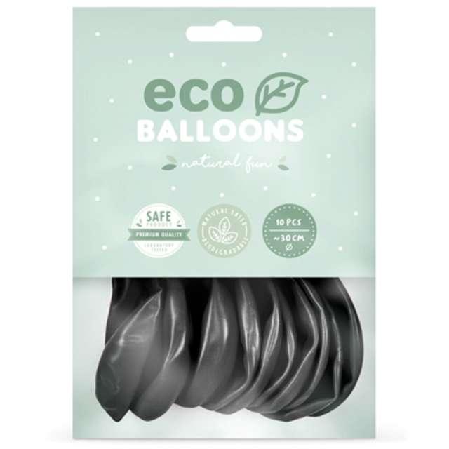 Balony Ekologiczne czarny metalik Partydeco 10 10 szt