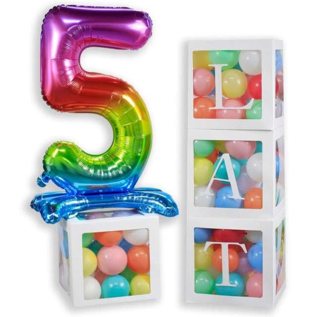 Pudełka na balony 100 Lat białe Godan 4 szt