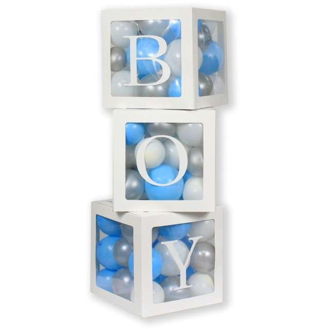 Pudełka na balony Boy białe Godan 3 szt