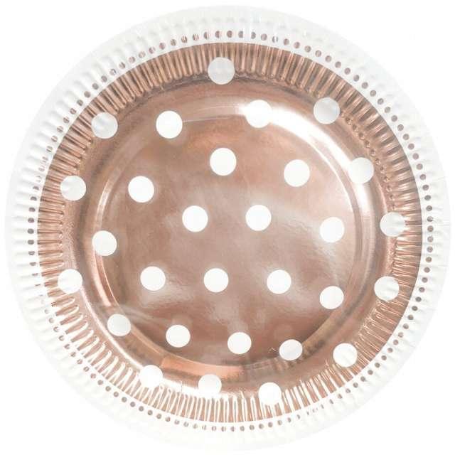 """Talerzyki papierowe """"Groszki"""", różowe złoto, Godan, 23 cm, 6 szt"""