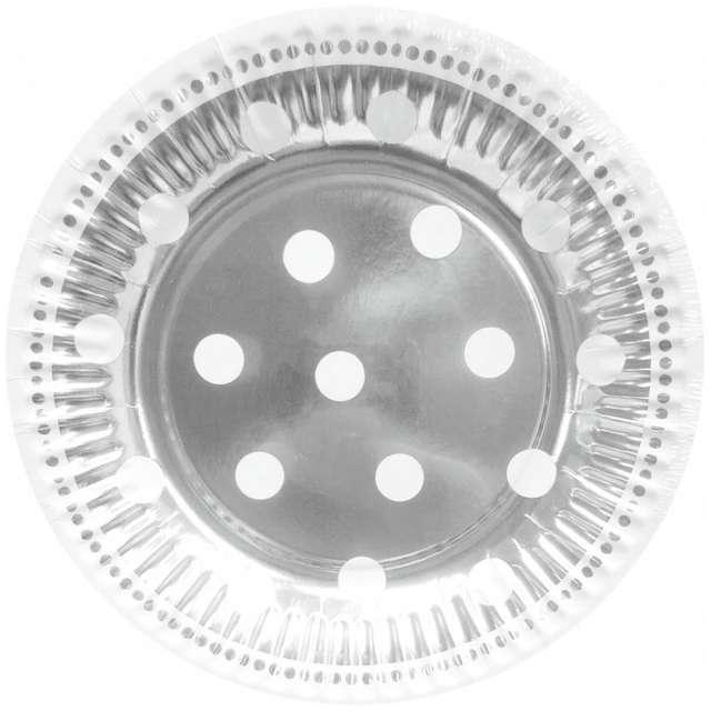 """Talerzyki papierowe """"Groszki"""", srebrne, Godan, 18 cm, 6 szt"""