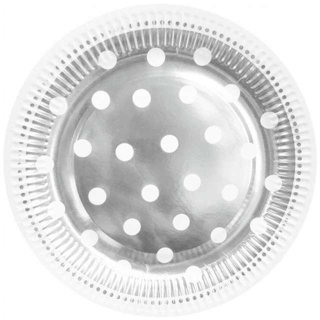 """Talerzyki papierowe """"Groszki"""", srebrne, Godan, 23 cm, 6 szt"""