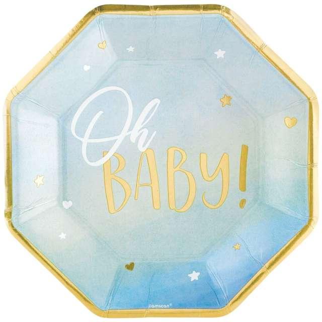 """Talerzyki papierowe """"Oh baby"""", błękitne, Amscan, 27 cm, 8 szt"""