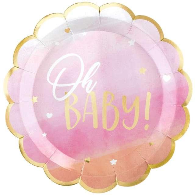 """Talerzyki papierowe """"Oh baby"""", różowe, Amscan, 27 cm, 8 szt"""