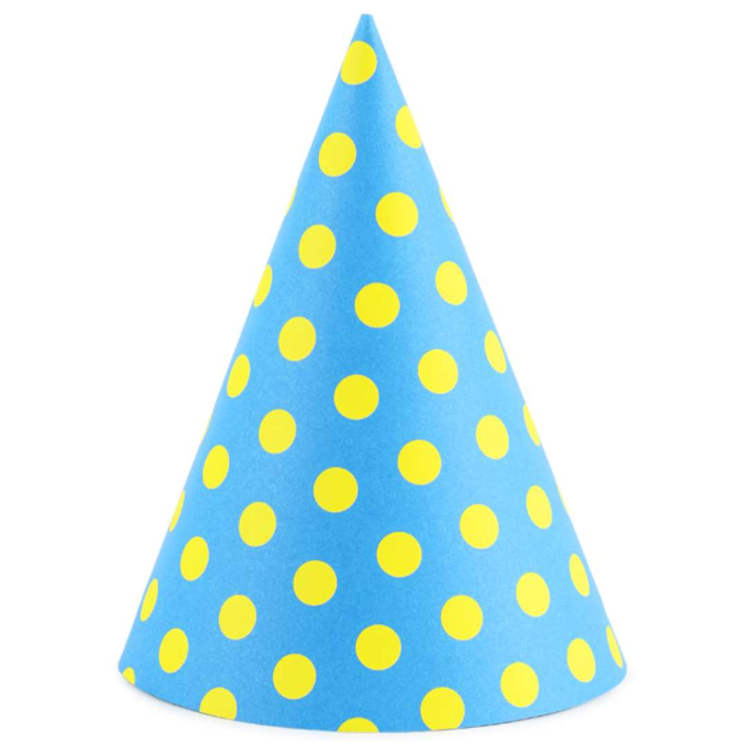 """Czapeczki """"Kropeczki żółte"""", niebieskie, PartyDeco, 16 cm, 6 szt"""