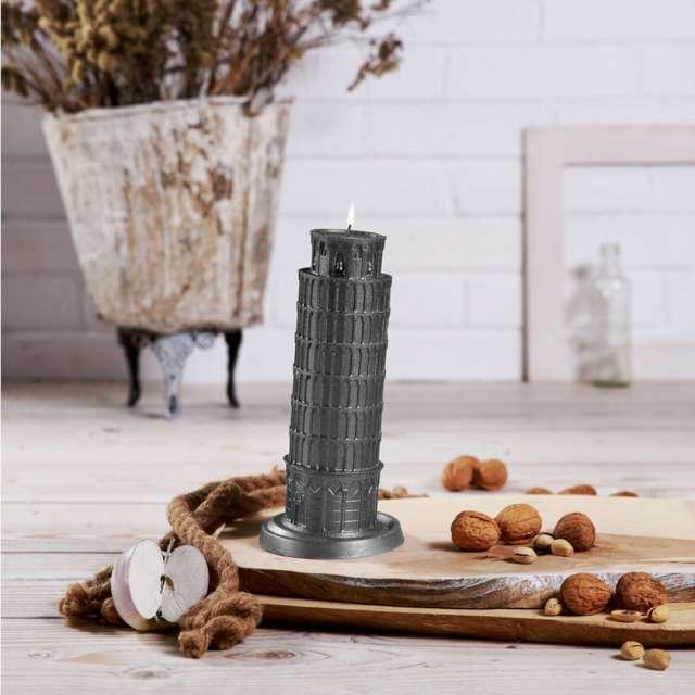 Świeca Krzywa Wieża w Pizie szary metalik Candellana