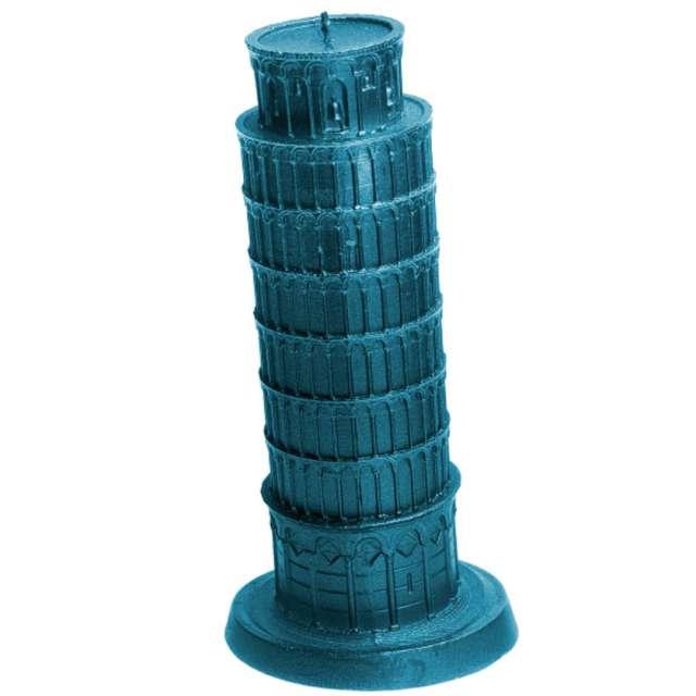 Świeca Krzywa Wieża w Pizie niebieski metalik Candellana