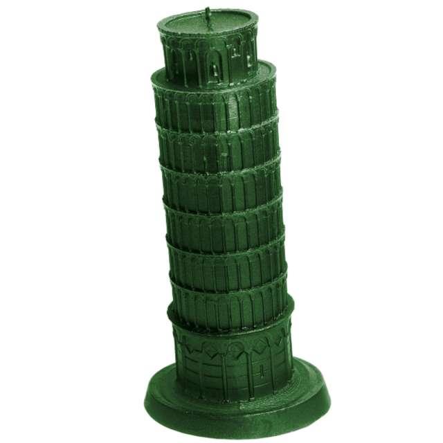 """Świeca """"Krzywa Wieża w Pizie"""", zielony metalik, Candellana"""