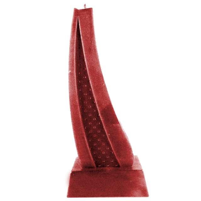 Świeca Żagiel czerwony metalik Candellana 23 x 8 cm