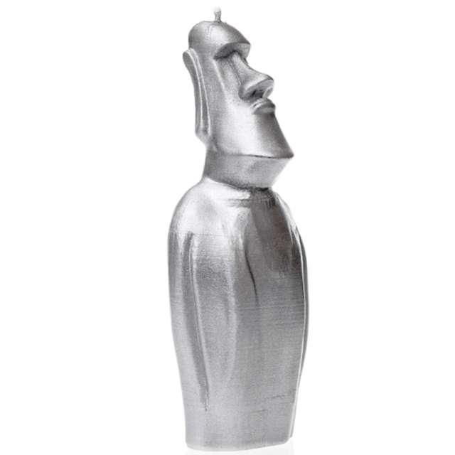 Świeca Posąg Moai srebrny metalik Candellana