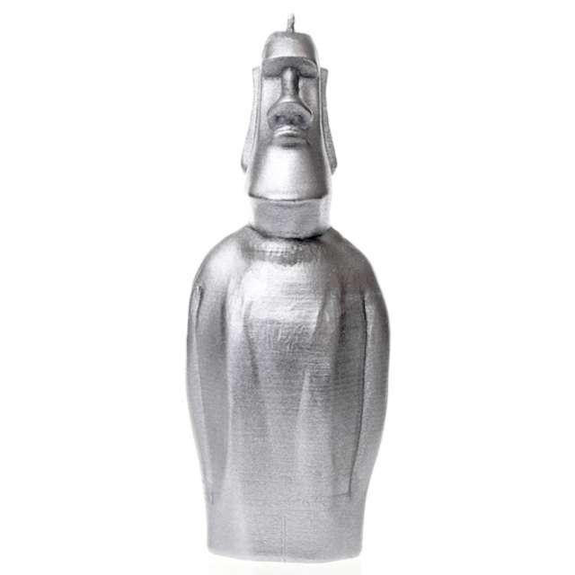 "Świeca ""Posąg Moai"", srebrny metalik, Candellana"