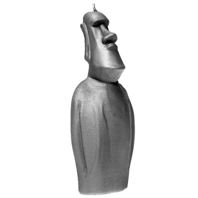 Świeca Posąg Moai stalowy metalik Candellana