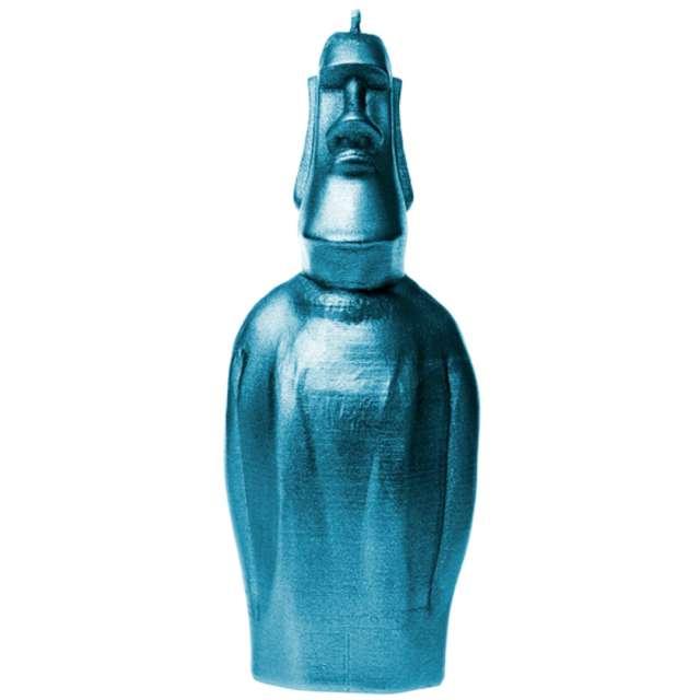 """Świeca """"Posąg Moai"""", niebieski metalik, Candellana"""
