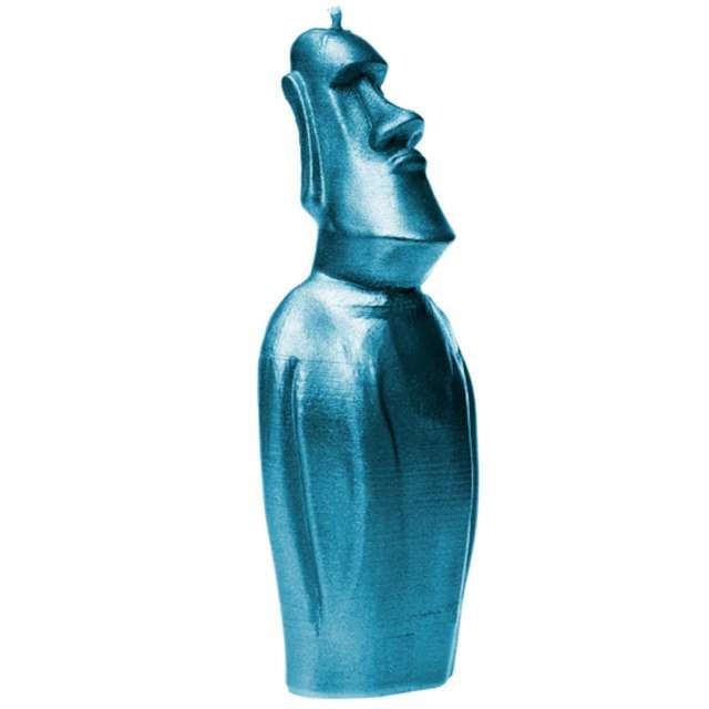 Świeca Posąg Moai niebieski metalik Candellana