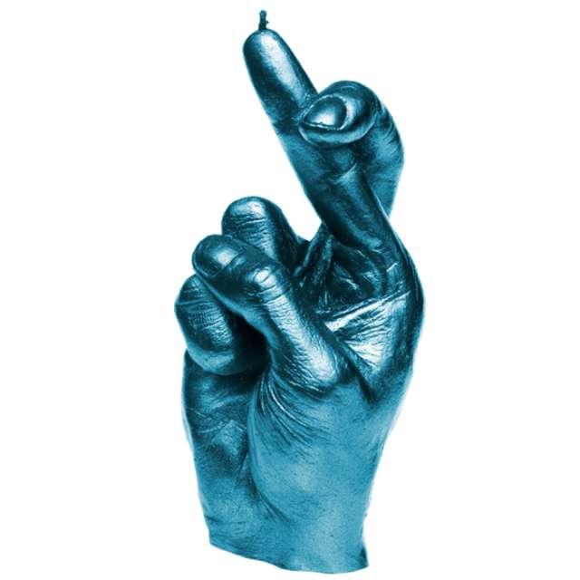"""Świeca """"Skrzyżowane palce"""", niebieski metalik, Candellana"""