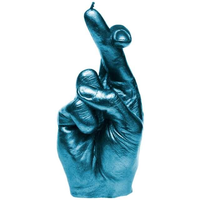 Świeca Skrzyżowane palce niebieski metalik Candellana
