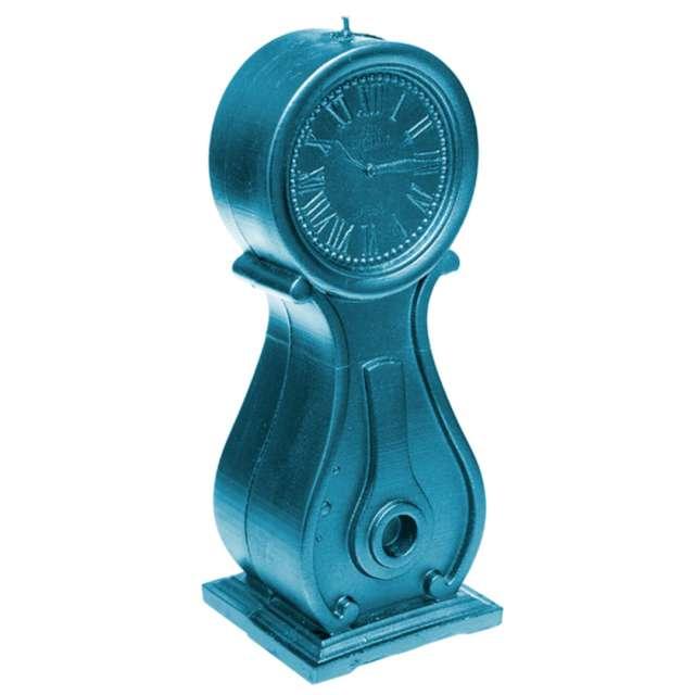 Świeca Zegar vintage XXL niebieski metalik Candellana