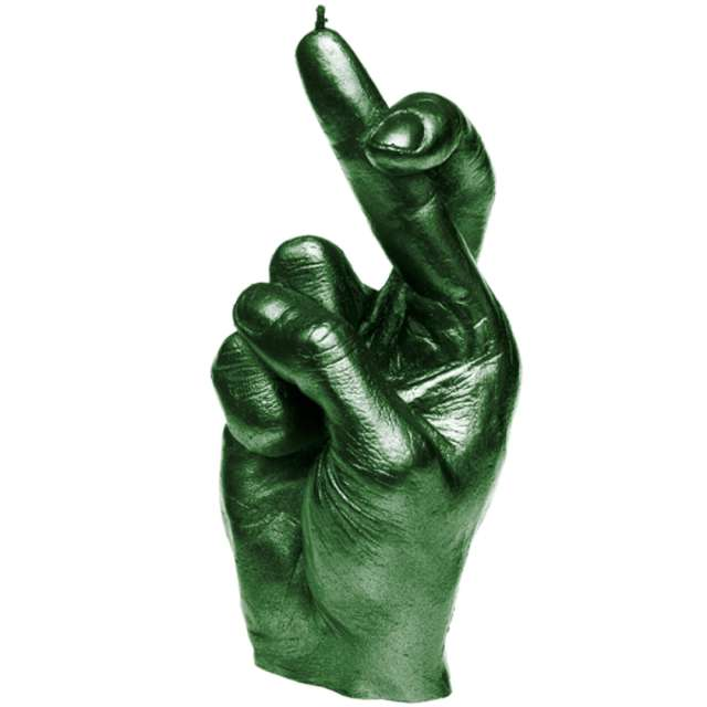 Świeca Skrzyżowane palce zielony metalik Candellana