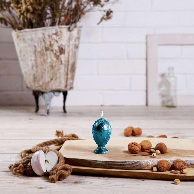 Świeca Jajo Faberge niebieska Candellana