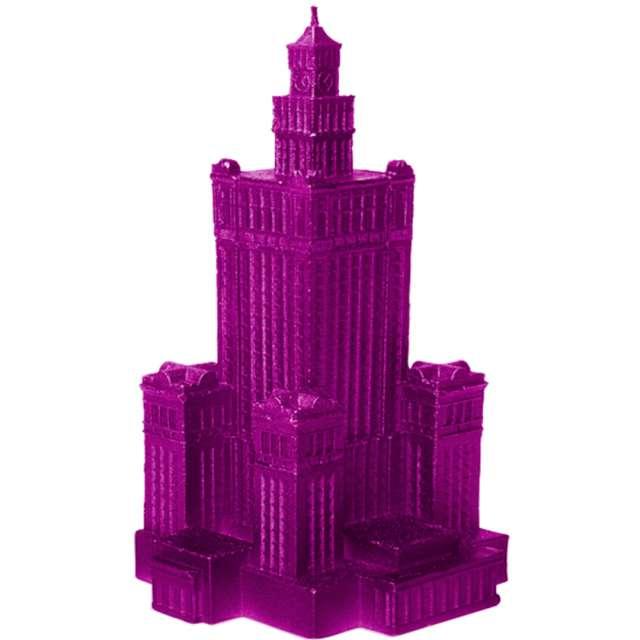 """Świeca """"Pałac Kultury XXL"""", różowy metalik, Candellana"""