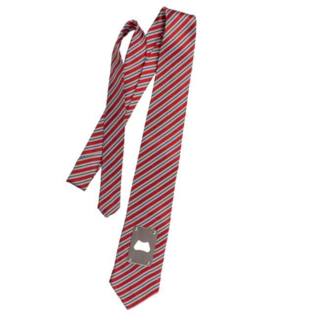 """Krawat """"Z otwieraczem"""", czerwone paski, OOTB"""